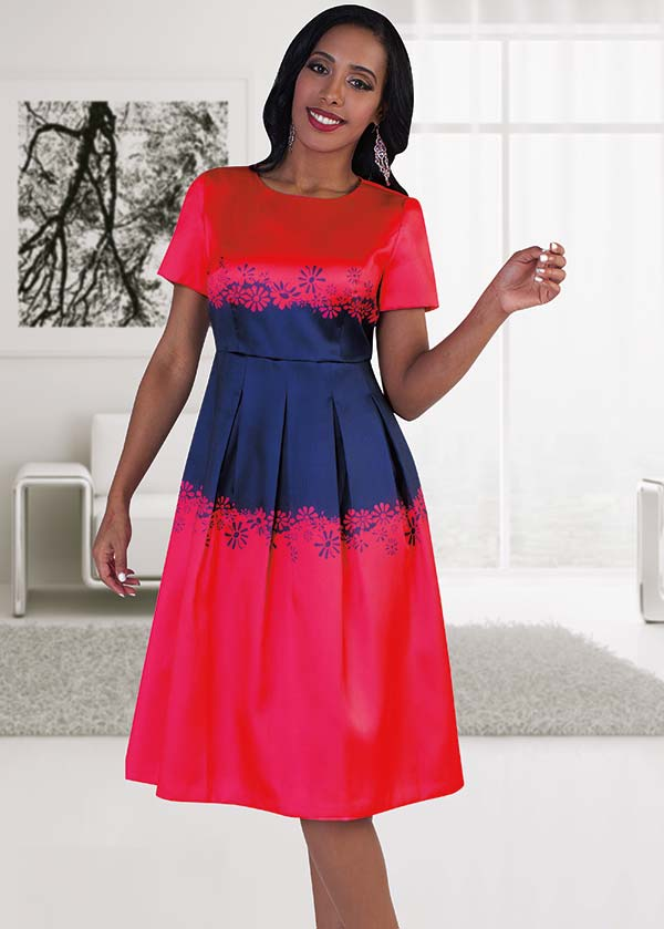 Chancele 9481 Two Tone Daisy Print Pleated Dress