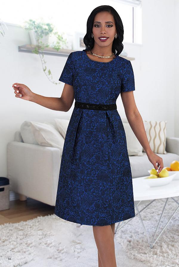 Chancele 9483 Floral Pattern Dress With Sequin Waist Details