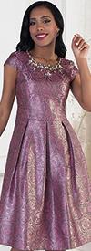 Chancele 9484 Rose Pattern Print Dress With Jeweled Neckline
