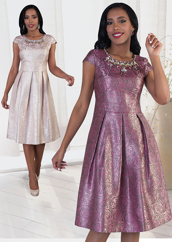 Chancele 9484 Rose Pattern Print Dress With Jeweled Neckline