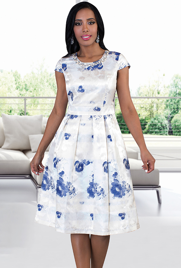 Chancele 9485-Ivory - Multicolor Floral Print Dress With Jeweled Neckline