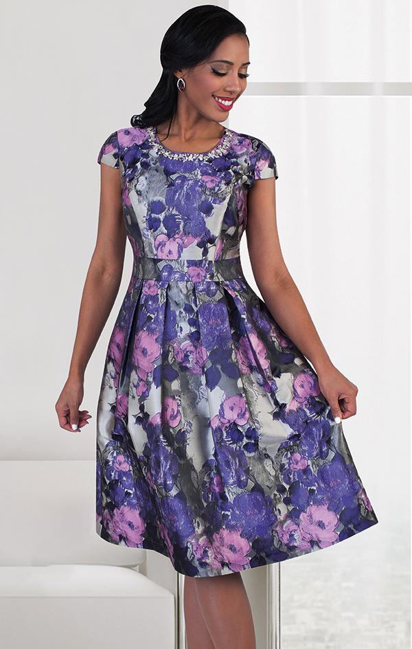 Chancele 9485-Purple - Multicolor Floral Print Dress With Jeweled Neckline