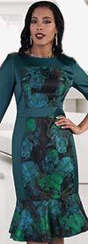 Chancele 9486 Floral Print Dress With Mermaid Flounce