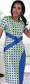 Chancele 9487 Polka-Dot Print Dress With Short Sleeves