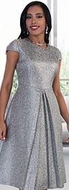 Chancele 9488 Glitter Rose Pattern Dress With Pleat Detail