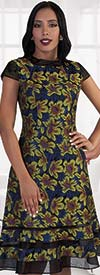 Chancele 9490 Multi Color Floral Print Dress With Mesh Details
