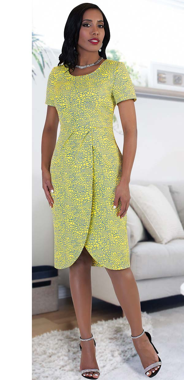 Chancele 9491 Printed Dress With Tulip & Pleat Detail