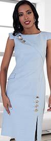 Chancele 9492-Blue - Capsleeve Dress With Button Embellishments