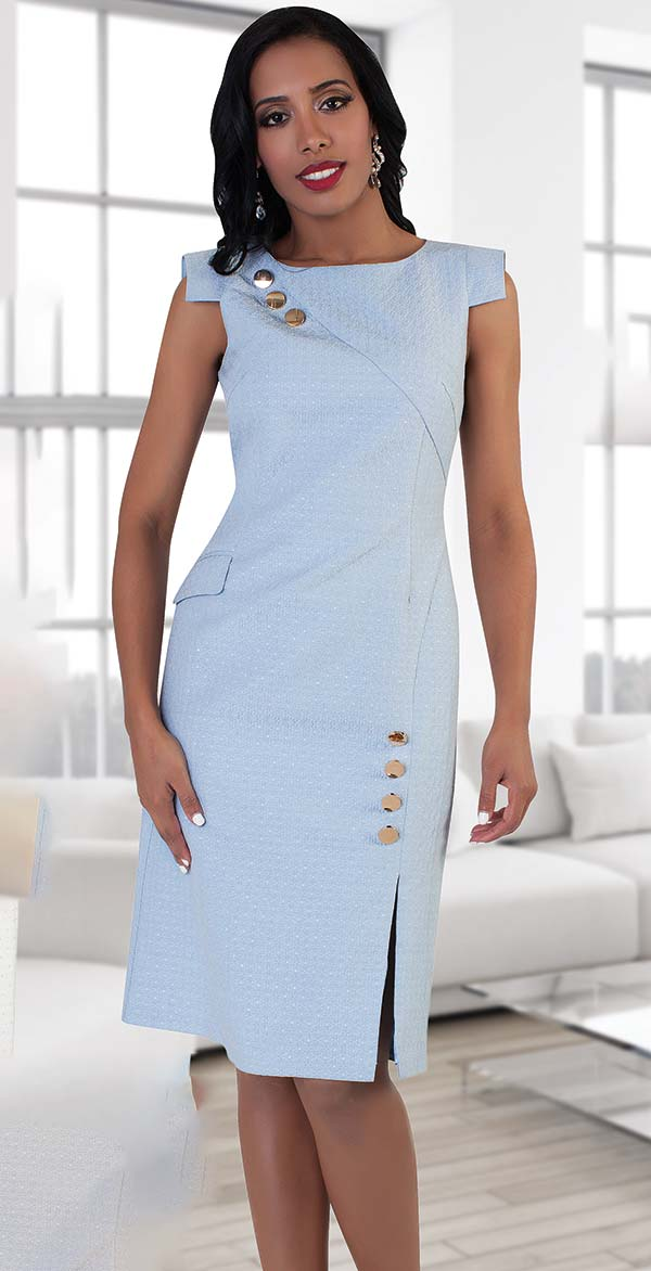 Chancele 9492-Blue - Capsleeve Dress With Button Embellishments