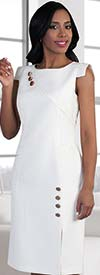 Clearance Chancele 9492-White - Capsleeve Dress With Button Embellishments