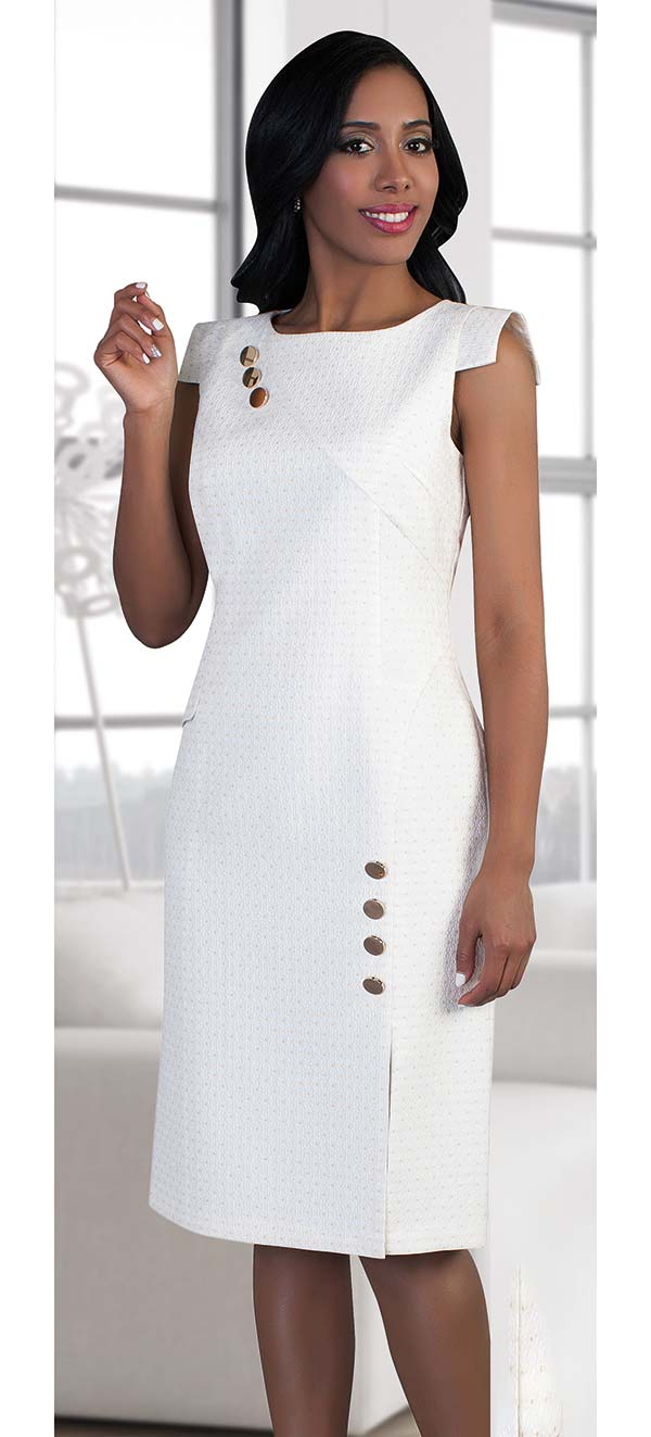 Chancele 9492-White - Capsleeve Dress With Button Embellishments