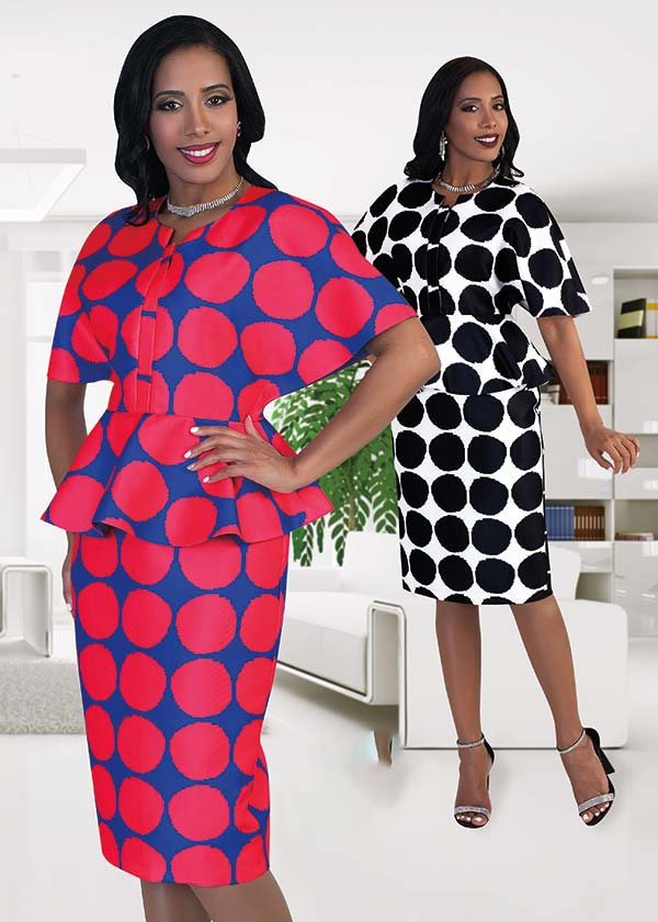 Chancele 9493 Wide Sleeve Polka-Dot Dress With Peplum Detail