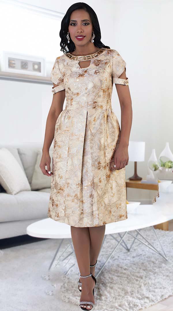 Chancele 9496 Brocade Print Pleated Dress With Jeweled Neckline