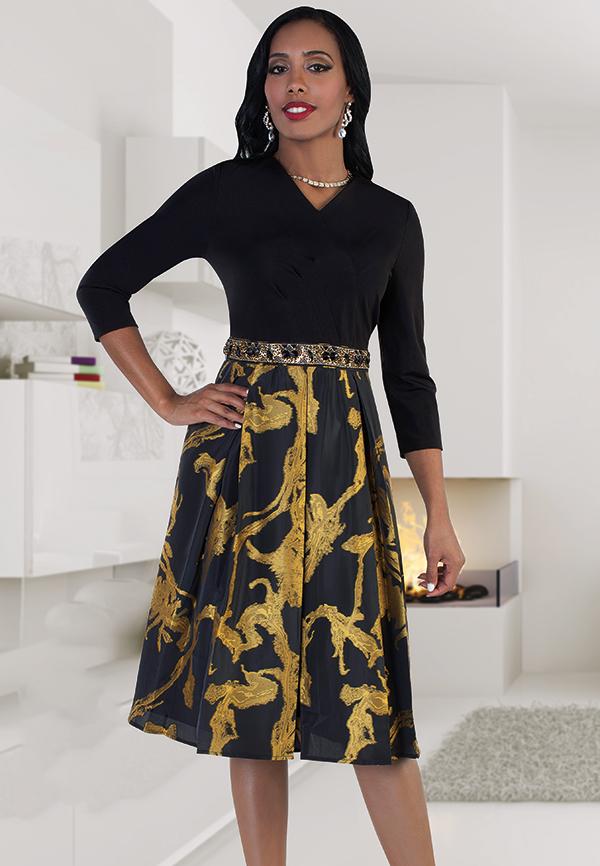 Chancele 9497 Pleated Dress With Wrap Top & Sequin Waist Details