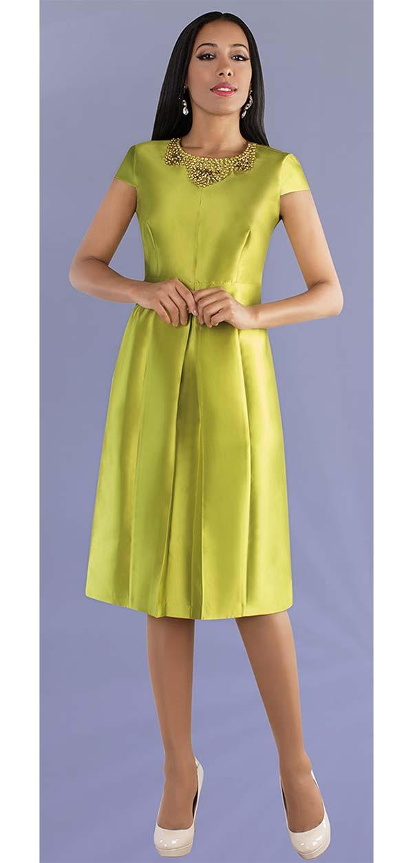 Chancele 9498-Pistachio - One Piece Cap Sleeve Pleated Dress With Rhinestone Embellished Neckline