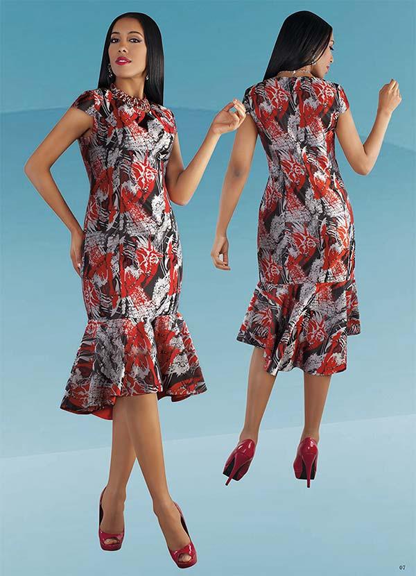 Chancele 9500 - Abstract Brocade Design Cap Sleeve Dress With Mermaid Flounce Hem Detail
