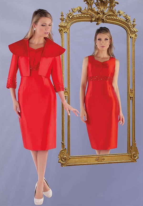 Chancele 9524 - Sleeveless Sheath Dress And Wide Collar Jacket With Rhinestone Details