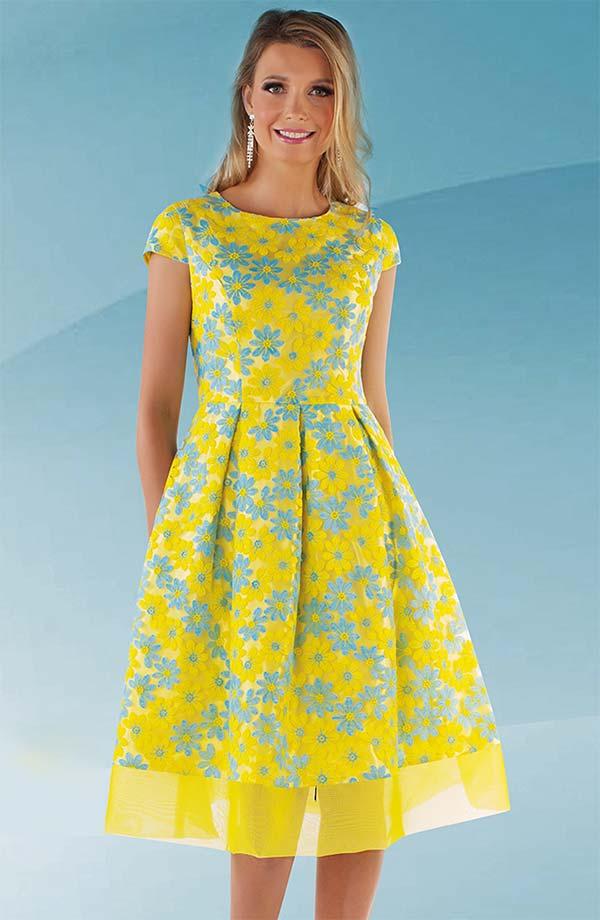 Chancele 9525 - Flower Design Cap Sleeve Pleated Flare Dress With Mesh Hem