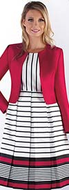 Chancele 9526 - Striped Design Pleated Dress With Solid Jacket