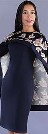 Chancele 9527 - Two Piece Long Sleeve Dress And Floral Print Cape