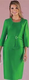 Chancele 9528-Emerald - One Piece Dress With Rhinestone Embellished Neckline & Belt