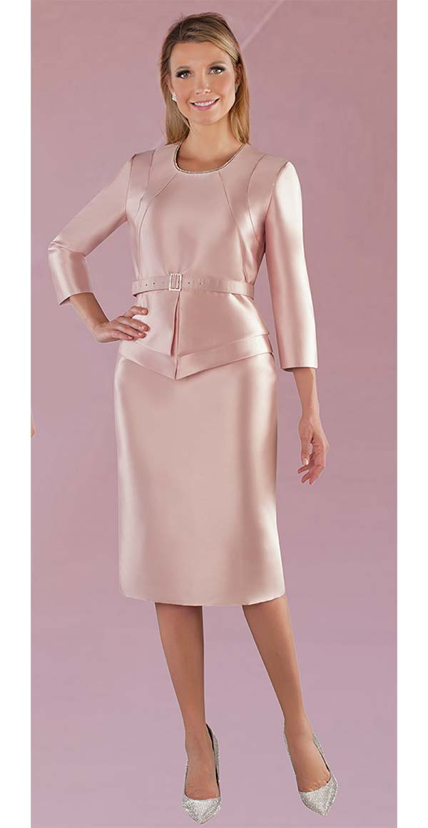 Chancele 9528-Mauve - One Piece Dress With Rhinestone Embellished Neckline & Belt