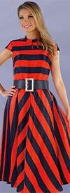 Chancele 9530 - One Piece Stripe Design Cap Sleeve Dress With Wide Belt