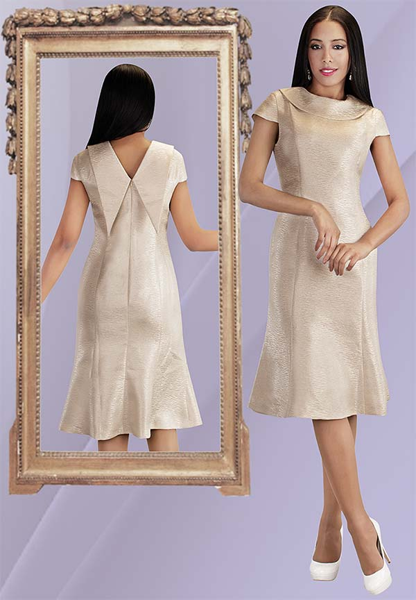 Chancele 9531 - Novelty Fabric Flared Dress With Pointed Back Drape Bertha Collar