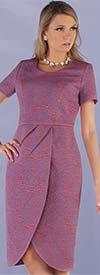 Chancele 9532 - Short Sleeve Tulip Style Brocade Fabric Dress