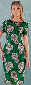 Chancele 9534 - Short Sleeve Dress With Floral Pattern Design And Jeweled Neckline