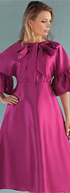 Chancele 9535-Fuchsia - One Piece Dress With Ruffle Cuff Sleeves And Bow Tie