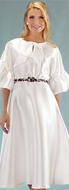 Chancele 9535-Ivory - One Piece Dress With Ruffle Cuff Sleeves And Bow Tie