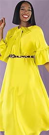 Chancele 9535-Lime - One Piece Dress With Ruffle Cuff Sleeves And Bow Tie