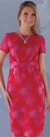 Chancele 9623 - Short Sleeve Dress In Novelty Fabric With Mock Belt