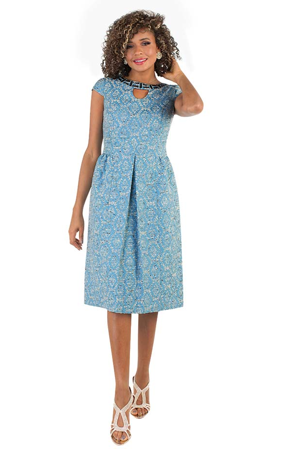 Chancele 9495 - Pleated Cap Sleeve Dress In Multi Color Print With Jeweled Keyhole Neckline