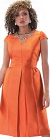Chancele 9498-Pumpkin - One Piece Pleated Dress With Rhinestone Embellished Neckline