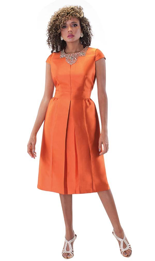 Chancele 9498-Pumpkin - One Piece Pleated Dress With Rhinestone Embellished Neckline