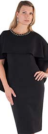 Chancele 9501-Black - One Piece Cape & Drape Style Dress With Jewel Embellished Neckline