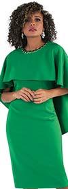 Chancele 9501-Green - One Piece Cape & Drape Style Dress With Jewel Embellished Neckline