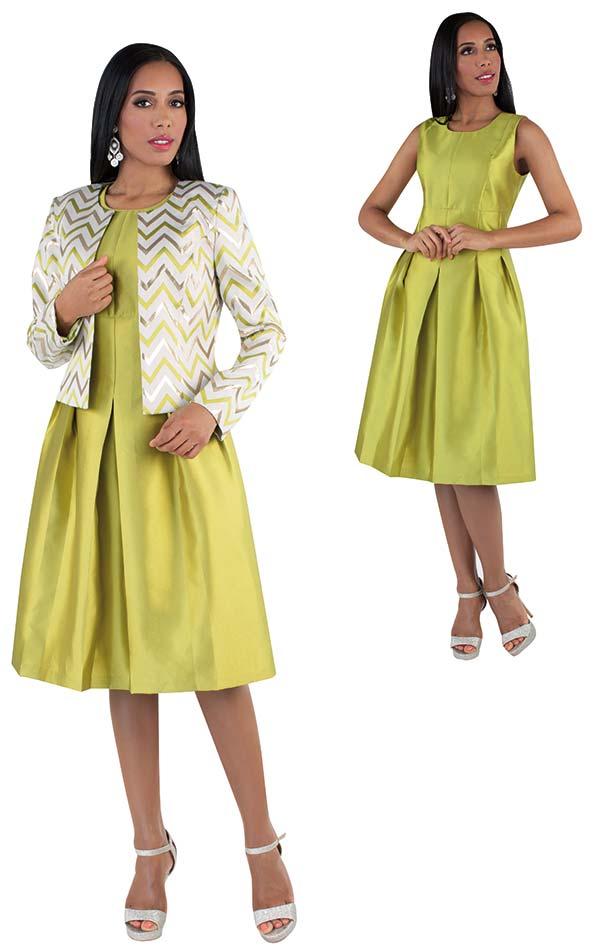 Chancele 9503-Pistachio - Sleeveless Pleated Dress With Bold Chevron Pattern Jacket
