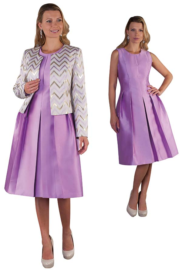 Chancele 9503-Violet - Sleeveless Pleated Dress With Bold Chevron Pattern Jacket