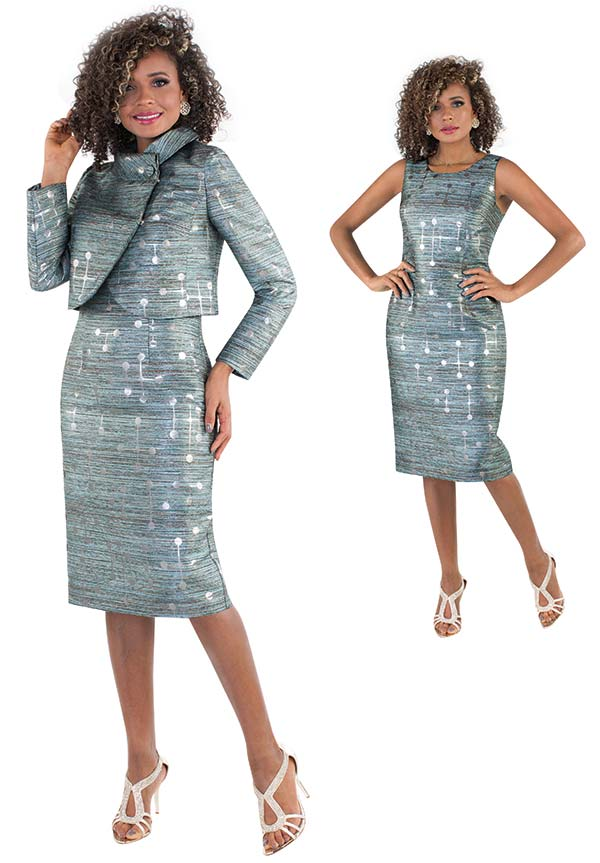 Chancele 9504-Jade - Two Piece Dress & Jacket Set In Sumptuous Jacquard Fabric