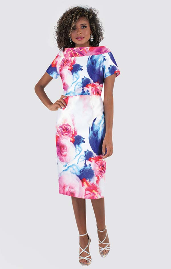 Chancele 9507 - Short Sleeve Dress With Portrait Style Collar In Floral Watercolor Style Print