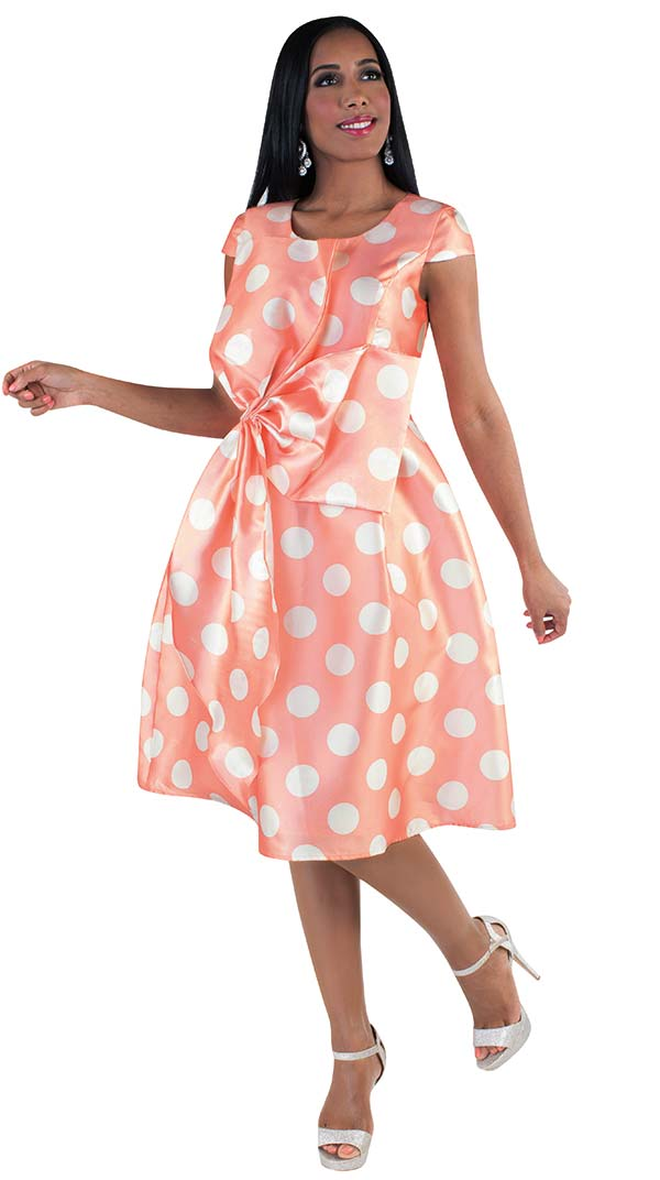 Chancele 9508 - Cap Sleeve Dress With Polka Dot Pattern & Unique Bow Design