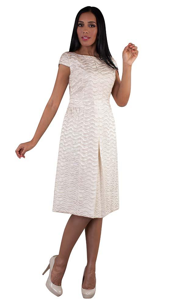 Chancele 9510 - Cap Sleeve Pleated Dress In Brocade Style Fabric