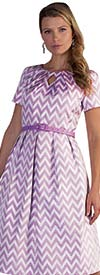 Chancele 9511 - Pleated Short Sleeve Dress With Chevron Pattern Print & Keyhole Neckline