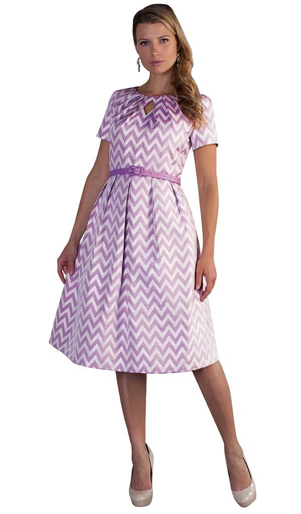 Chancele 9511 - Pleated Short Sleeve Dress With Chevron Pattern Print & Keyhole Neckline
