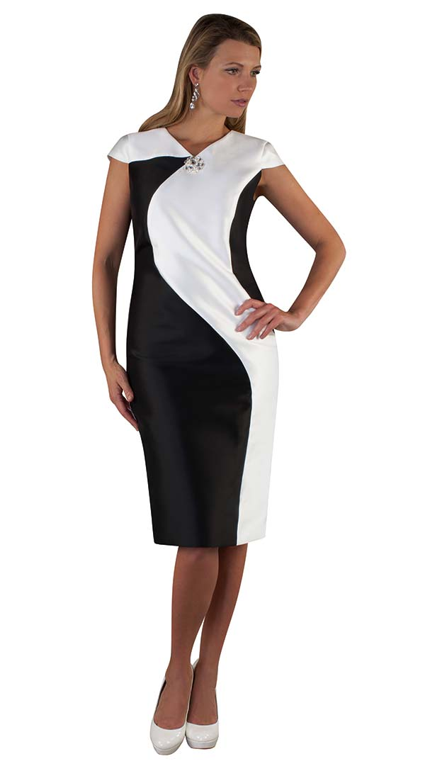 Chancele 9516-BlackWhite - Cap Sleeve Dress With Two Tone Design & Brooch