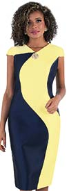 Chancele 9516-YellowNavy - Cap Sleeve Dress With Two Tone Design & Brooch