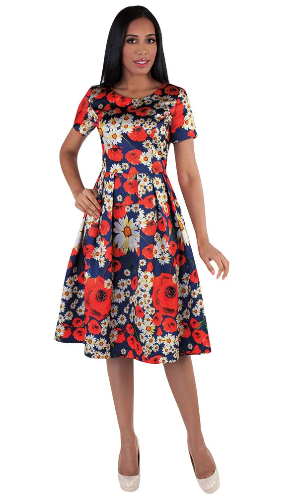 Chancele 9519 - Pleated Dress With Flower Petal Power Print